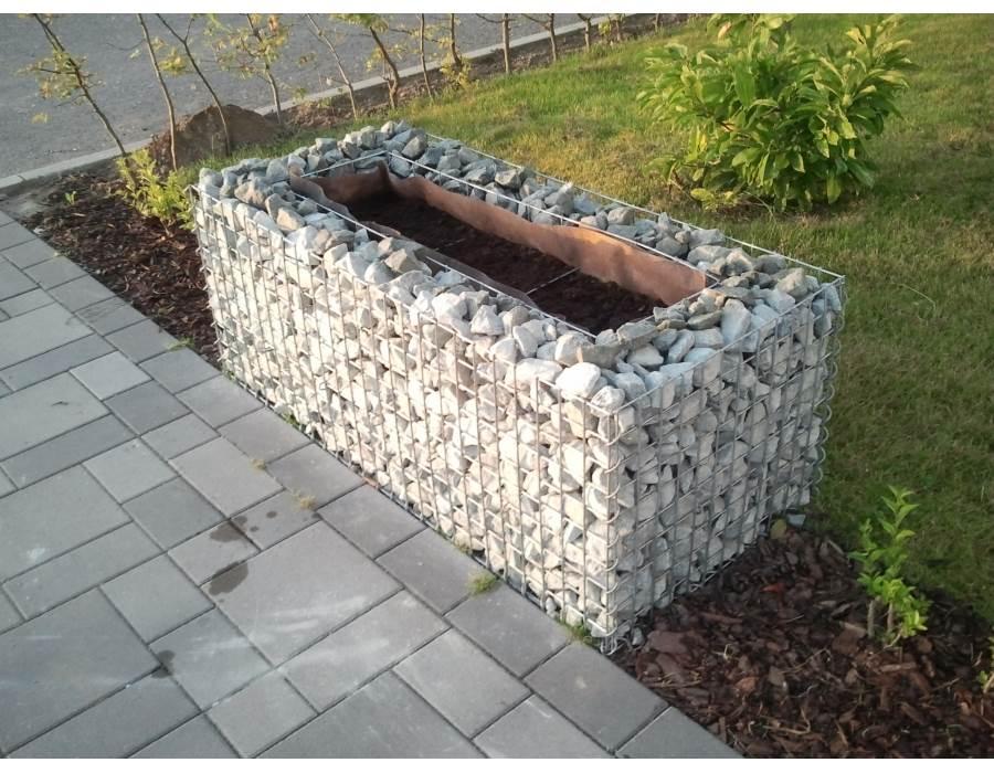 Jardiniere gabion 120 x 30 x 50 cm - Gabionenwand bepflanzen ...